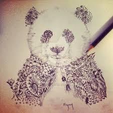henna panda for tattoo design by mymy la patate on deviantart