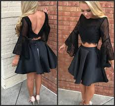 black long sleeve cocktail party dresses for women ladys wear