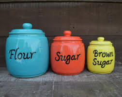 colorful kitchen canisters sets kitchen canisters etsy