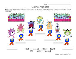 ordinal numbers worksheet 4