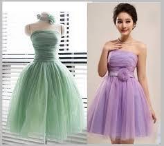 bridesmaid dress short dress tulle strapless purple mint green top