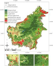 The Villages Map Surveyed Villages In Kalimantan Indonesian Borneo With Land