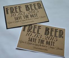 Rustic Save The Date Free Beer Save The Date Cards Funny Kraft Rustic Save The Date