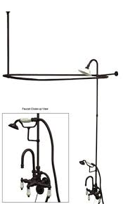 Oil Rubbed Bronze Clawfoot Tub Faucet Kingston Brass 3 3 8 Center Wall Mount Goose Neck Clawfoot Tub