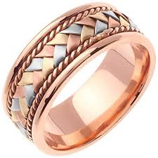 braided band 14k tri color gold braided basket weave men s comfort fit wedding