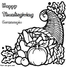 printable thanksgiving cornucopia coloring page printable