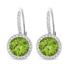 leverback diamond earrings 14k white gold peridot and diamond halo leverback earrings