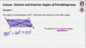 What Is Interior And Exterior Angles Interior And Exterior Angles Of Parallelograms Youtube
