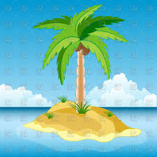 island in sea with palm tree royalty free vector clip image