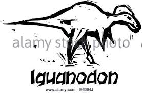 simple rough woodcut style depictions ichthyosaur dinosaur