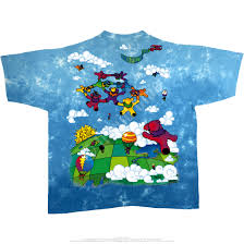 grateful dead parachuting bears tie dye t shirt tee liquid blue