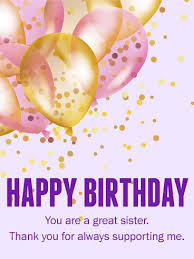 you are a great sister happy birthday card what would we do