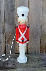 lighted plastic christmas yard decorations vintage toy soldier nutcracker plastic blow mold light up yard