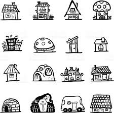 different types of houses in black and white stock vector art
