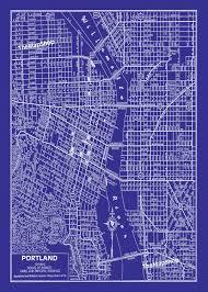 Chicago Street Map by Portland Oregon Street Map Vintage Blueprint Print Poster