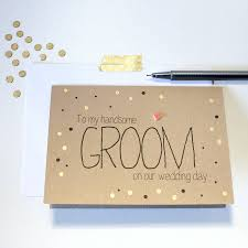card to groom from on wedding day to my handsome groom gold dots wedding day card by
