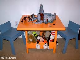 Kids Table And Chairs With Storage Ana White Kids Storage Table And Thumb Chairs Diy Projects