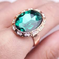 green stone rings images Epacket free shipping rose gold new big green stone with jpg