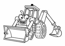 benny the excavator from bob the builder coloring page coloring sun