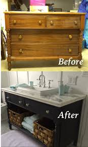 Chalk Paint Bathroom Cabinets Re Do Of An Old Dresser Into A Bathroom Vanity Painted With Chalk