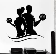 aliexpress com buy fashion fitness vinyl wall decals lady man
