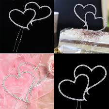 heart cake topper aliexpress buy 2017 new rhinestone silver