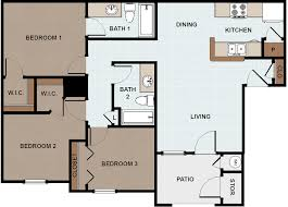3 Bedroom Floor Plans by Vida Que Canta Apartments For Rent In Mission Texas