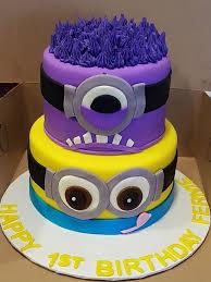 minions birthday cake purple and yellow minion birthday cake custom created cakes by