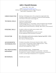 sle resume for working students in the philippines student resume sle philippines university professional