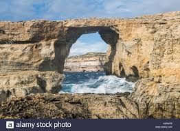 azure window famous stone arch of gozo island in the sun in the