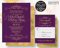 purple and gold wedding invitations purple gold wedding invitation customizable invites gold