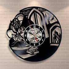 beauty and the beast wall art vinyl record clock home decor