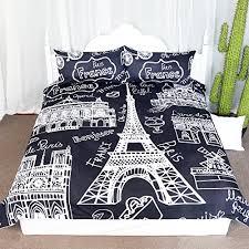 funky black and white paris monuments 3 piece twin duvet cover set