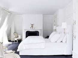 nice and sleek white modern bedroom furniture with white curtains