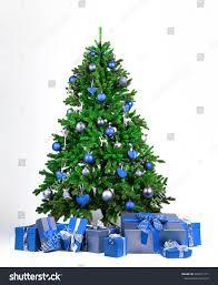 tree blue silver balls stock photo 449371771