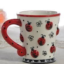 Decorating Porcelain Mugs Tea Coffee Mugs Ceramic Creative Cartoon Ladybug Milk Cup Home