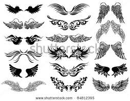 grey ink wings tattoos designs for