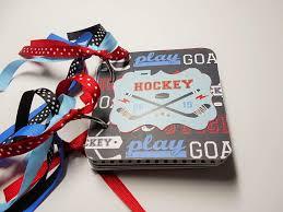 4x4 photo album hockey mini album hockey scrapbook premade album chipboard