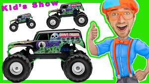 monster trucks youtube grave digger learn shapes u0026 numbers with toy monster trucks with blippi youtube