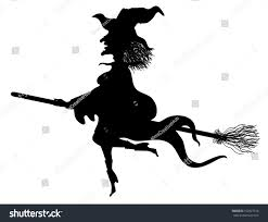 witch silhouette clipart whimsical flying witch silhouette stock vector 152027516