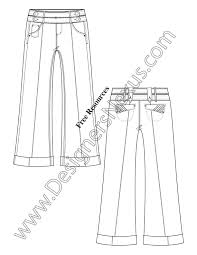 adobe illustrator fashion flat sketch sailor waist wide leg pants