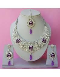 purple stone necklace set images Purple silver plated zirconic stone designer necklace set jpg