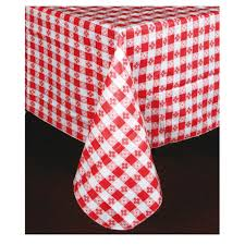 52 inch x 52 inch check vinyl table cloth