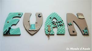lettre chambre enfant décoration murale lettre prénom evan chats ourson bleu vert