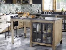 meuble de cuisine maison du monde îlot central en pin recyclé copenhague meuble de cuisine maisons