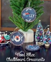 diy ornaments wood slice chalkboard consumer crafts