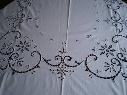 Shabby Chic Tablecloth by Vintage White Crochet Linen Oblong Tablecloth Shabby Chic Oblong