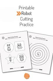 printable robot cutting practice cutting practice free