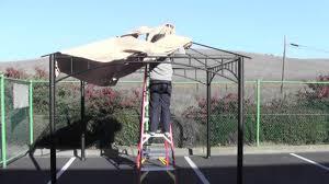 Garden Treasures 10 X 10 Aluminum Gazebo by How To Install A Canopy For The Target Madaga Gazebo Youtube
