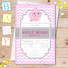 elephant baby shower invitations 10 personalised pink elephant baby shower invitations n19